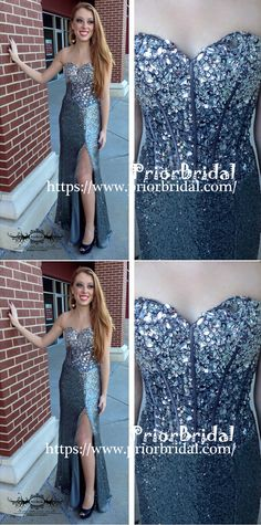 d6440804239 Sparkly Rhinestone Sequins Sweetheart Strapless Side Split Prom Gown  Dresses