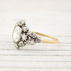 """antique ring. This could literally not be any more perfect. I would say """"yes"""" if shrek proposed with this!"""