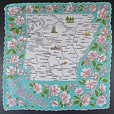 Souvenir hankie from Arkansas. I had a whole bunch of these state hankies when I was a kid. I still have some of them!