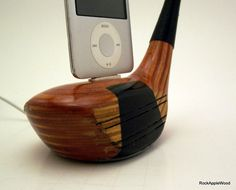 This is such a great idea for Father's Day! - Vintage Wooden Golf Club iPhone Dock ICN408 by rockapplewood, $50.00