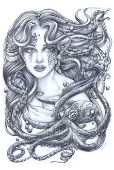 Mermaid & Her Octopus Print  Mermaid Art by Lunarianart on Etsy, £4.99