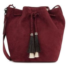 Loeffler Randall Burgundy suede bucket bag ❤ liked on Polyvore featuring bags, handbags, shoulder bags, suede bucket bags, suede purse, shoulder bag purse, red shoulder bag and red bucket bag