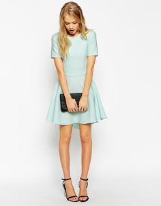 Asos Skater Dress in Texture With Cut Out Back on ShopStyle