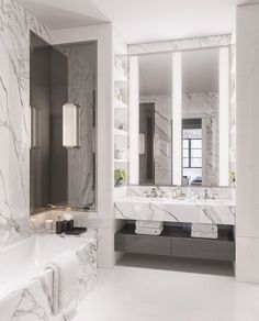 Marble Bathroom with White Floor