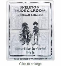 Novios Bride and Groom Chocolate Skeleton Bar Molds - Set of 2