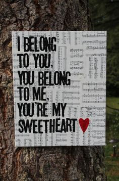 """""""Ho Hey"""" - lyrics by the Lumineers hand stamped on Vintage sheet music on canvas. Love the idea of using song lyrics Vintage Sheet Music, Vintage Sheets, Song Quotes, Song Lyrics, Quotable Quotes, The Lumineers, Canvas Art Quotes, You Belong With Me, Thats The Way"""
