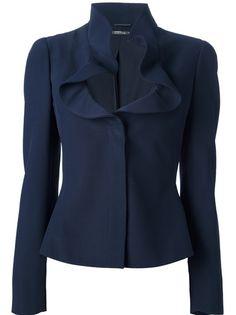 ALEXANDER MCQUEEN Ruffle Collar Jacket, Blue