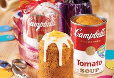 These whimsical mini spice cakes are not only baked in soup cans, but they also use tomato soup in the batter to make the cakes especially moist and flavorful.  What a tasty idea for gift giving!