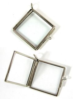 Bronze double sided glass kite frame diamond pendant hinged locket 6 glass lockets frame pendants hinged diag square silver or copper mozeypictures Gallery