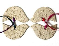 Décorations en céramique oiseaux Sarcelle mis de la crème 4 poterie ornements rose à rouge pourpre Made in England Angleterre UK EU