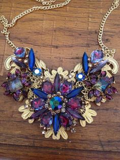 Repurposed Vintage Jewelry - Bib Necklace - Statement Necklace - Costume Jewelry