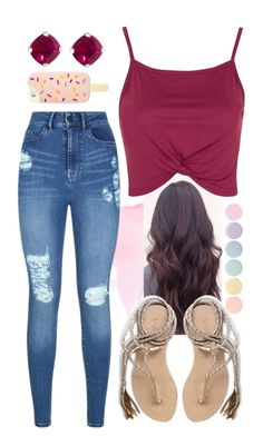 """""""Just Chillin..."""" by chrissymusicfashion ❤ liked on Polyvore featuring Deborah Lippmann, Lipsy, Topshop, L*Space, Jewel Exclusive and Tory Burch"""