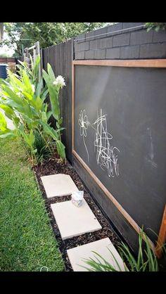 Mounted black board on garden fence