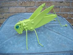 Garden Art Grasshopper / Junk Art/ Yard Art by sewupcycle on Etsy