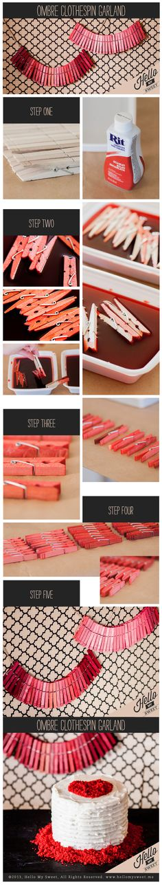 DIY Ombre ClothespinGarland - Blog - Hello My Sweet  | www.hellomysweet.me I've pinned it to win it from @Rebecca Kahler My Sweet