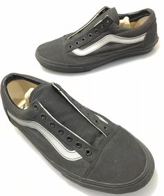 Vans Mens 10 Black Gray Canvas Gym Shoes Sneakers No Laces  VANS… Vans Skate ccbe13b6b