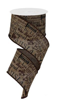 """2.5""""X10YD LOUISIANA CULTURE ROYAL BURLAP - #louisiana  #craigbachman #ribbon #culture"""