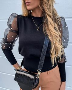 Women Fashion Long Sleeve Sheer Mesh Blouse Sexy Puff Sleeve Tops Vintage Pearls Sleeve Baggy Blouse O-neck Shirts Female Blusas Vintage Tops, Net Blouses, Lace Sleeves, Puff Sleeves, Pattern Fashion, Blouses For Women, Streetwear, Ideias Fashion, Womens Fashion