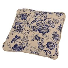 Ellis Curtain Palmer Floral Toile Toss Pillow in Navy
