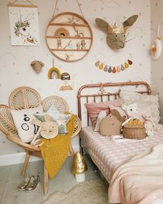 Peachy kids room with rattan petal chair Rose gold bed by Incy Interiors at Cottage Toys, rattan petal chair by Tobs and Ror, rainbow bed sheet by Swedish Linens, and highlights of blush, mustard and rust mixed with natural accents. Cool Kids Bedrooms, Kids Bedroom Designs, Childrens Bedroom Ideas, Small Bedrooms, Nursery Ideas, Baby Bedroom, Girls Bedroom, Master Bedroom, Childs Bedroom