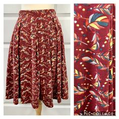 LuLaRoe Madison Skirt With Pockets Feather Novelty Print Brick Red Size XS #LuLaRoe #Pleated Hip Openers, Feather Pattern, Novelty Print, Skirts With Pockets, Knitted Fabric, Yellow, Ebay Clothing, Brick, Red