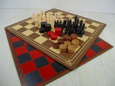 Vintage Well Worn Large Wooden Game Boards with by DivineOrders