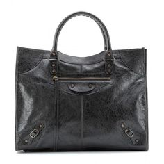 Balenciaga Giant Monday Leather Tote (1,569,030 KRW) ❤ liked on Polyvore featuring bags, handbags, tote bags, balenciaga, black, black leather tote bag, black tote, leather purse, black tote handbag and leather tote