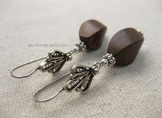 Twisted oval dark wood beads Balinese oxidized sterling silver drop earrings |Wood earring| Natural wood jewelry - pinned by pin4etsy.com