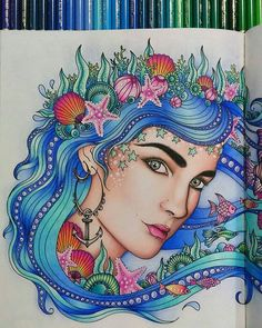 Rainha do mar!!!! @Regrann from @renatagclementino - Detalhes! #dagdrömmar…  Davlin Publishing #adultcoloring