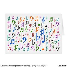 """Shop Colorful Music Symbols + """"Happy Mother's Day!"""" Card created by AponxDesigns. Music Teacher Gifts, Music Teachers, Music Symbols, Mother's Day Greeting Cards, Happy Mother S Day, Music Notes, Wood Wall Art, Musicals, Messages"""
