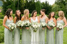 Summer hudson valley wedding at The Roundhouse at Beacon Falls with mint green accents and bias cut silk gown by ©️ Sarah Tew Photography seen at: https://www.sarahtewphotography.com/blog/august-wedding-roundhouse-beacon-falls/ featuring @rhbeacon,  Engaging Florals @nyefd, Sarah Janks @jankssarah