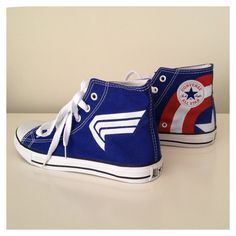 Captain America themed hand painted sneakers by Breathlessness, $120.00| These need to be on my feet.