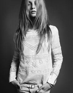 Long layered hair and slouchy top
