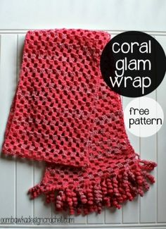 This is a elegant wrap - with a flirty twist - wear the Coral Glam Wrap as a evening wrap, or as a fancy scarf!