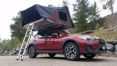 4-person hardshell rooftop tent on a Subaru Crosstrek.   iKamper Skycamp sets up in under 1 minute and has a king size mattress ready for your next road trip!