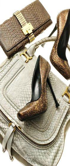 Michael Kors OFF! Exotic Fall Snakeskin Accessories: Michael Kors clutch Donna Karan pumps and Chloé Satchel Shoe Boots, Shoes Heels, Pumps, Shoe Bag, Donna Karan, Handbag Accessories, Fashion Accessories, Animal Print Fashion, Animal Prints