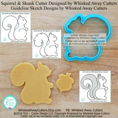 Squirrel and Skunk Cookie Cutter and Fondant by WhiskedAwayCutters