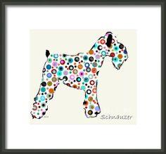 polka dogs modern dog art by artist bri.buckley by Oxleystudio, $22.00