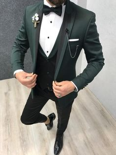 Collection: Spring Summer 2019 Product: Slim-Fit Tuxedo Color Code: Green Size: Suit Material: satin fabric lycra Machine Washable: No Fitting: Slim-fit Package Include: Jacket Vest Pants Gifts: Shirt Chain and Bow Tie Cromulent Green Slim Fit Tuxedo Green Wedding Suit, Wedding Dress Men, Wedding Men, Wedding Suits, Wedding Tuxedos, Wedding Poses, Men's Tuxedo Wedding, Prom Tuxedo, Wedding Ideas