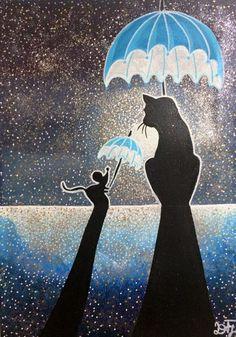 Rajah et Fifie 🐹🐈☂ Umbrella Art, Under My Umbrella, Crazy Cat Lady, Crazy Cats, I Love Cats, Cool Cats, Arte Black, Image Chat, Rain Art