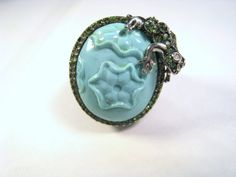 Hey, I found this really awesome Etsy listing at https://www.etsy.com/listing/166762832/ladies-14k-white-gold-carved-turquoise