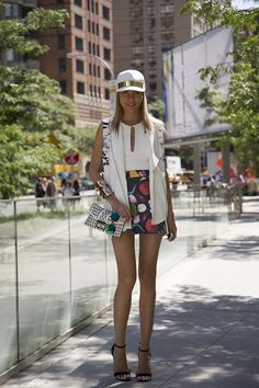 """New York Fashion Week street style inspiration (Vogue.com UK). Dasha Gold, blogger  """"My hat is by Shakuhachi and my top and bag are by Shaeike. I'm also wearing a skirt by Queen Kahn."""""""