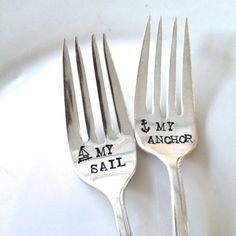 Sail & Anchor Wedding Cake Fork  anchor forever ship sailor sail hipster cool cute love forever tattoo