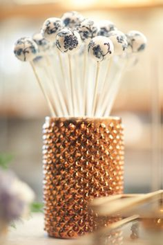 Blue and White Cake Pops in Gold Vase | photography by http://www.juliemikos.com