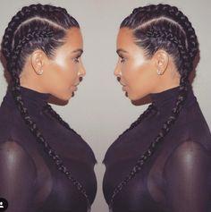 Kim Kardasian West braids January 2016