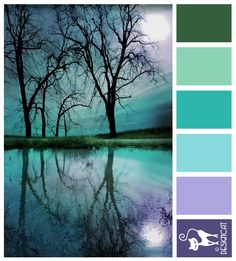 Misty Morning - Green, Blue, Teal, Lilac, Purple - Designcat Colour Inspiration Board
