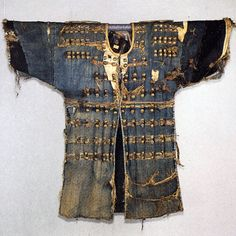 """Joseon Dynasty silk-covered leather brigandine (피갑주/皮甲胄, lit.""""leather armour""""), commonly made from boar or deer leather."""