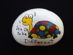 Tommy the turtle painted rock by Sharon Allen