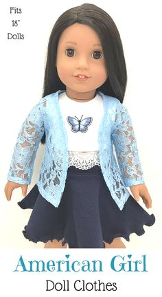 """18 inch, 18"""" doll clothes- light Blue lace open cardigan. #americangirl #dollclothes #affiliate #18inchdoll #etsy"""