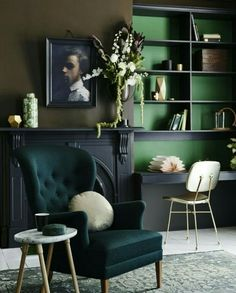 2018 Interior Design Trends: Deep Green, rich velvets and bold wall color #Pantone